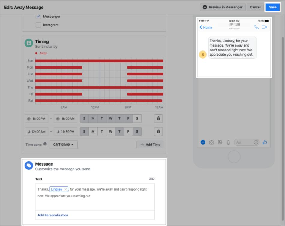 Configuring an away message for the Messenger platform