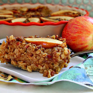 Overnight Apple Oatmeal with Praline Topping.