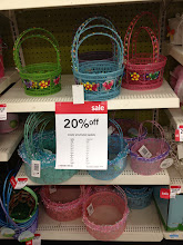 """Photo: I needed to buy an empty Easter basket for my Easter tabletop, so I was happy to see that they were on sale. Some where 20% off and others were 50% off. I wanted an """"old school"""" basket...one made of bamboo and one that was fairly simple."""
