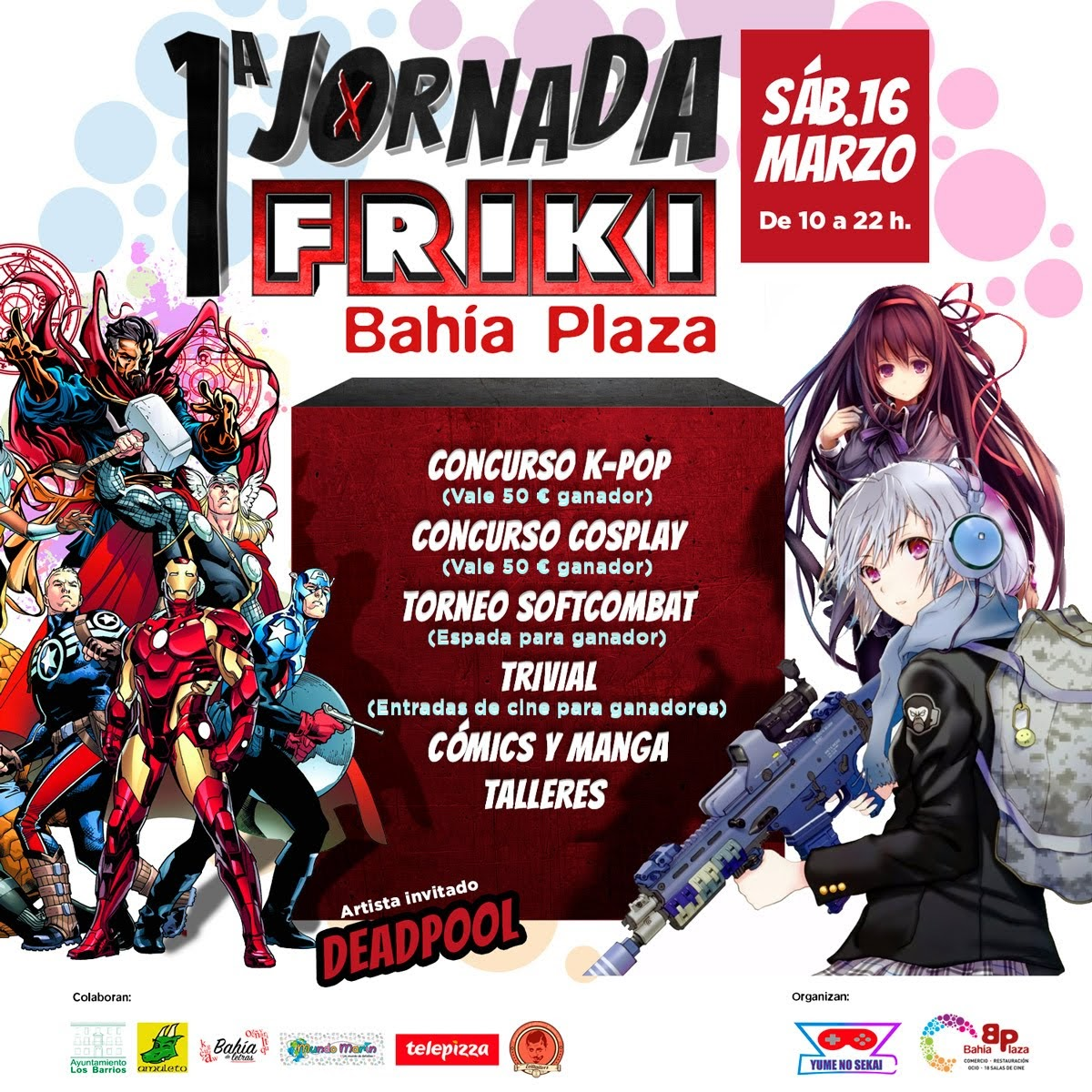 Bahía Plaza celebra este sábado su primera Jornada Friki con Deadpool como artista invitado