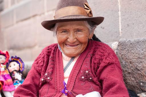 A local woman in traditional dress named Florenza in Cusco, Peru.