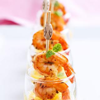 Succulent Shrimp Tapas with Mango Shooters.