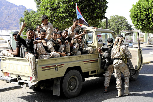 Southern Yemeni separatist fighters ride on the back of a truck in the interim capital, Aden, on January 29 2018. Picture: REUTERS