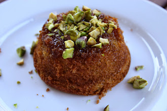 Photo: For pudding I served the mini honey sponges with a drizzle of honey (and a sprinkling of pistachios for the grown ups).  A gorgeous, filling two-course greek meal for under a tenner.