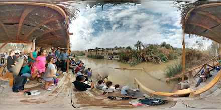 Photo: Bethany beyond Jordan - Jesus was baptized in this river. You can still see people dressed in white getting baptized in the distance.