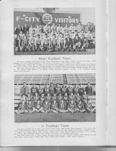 "Photo: Senior Football Top Photo: left to right:Coach Perry=Head Coach/Henry ""DoDo"" Vaccaro, Roy Hodges, Pat Todd, Raiford Whittenton, Dick Gatten, Jack Gates, Coach Smith, Coach Irving, C.C.Privette, Guy Bodkins, Charles Jones, Bobby Walker, Kyle Woods, Billy Don O'Neal, Virgil Merrell, Lawson Hughes, Joe Davidson, Richard Courtney, John Jones, Bobby McDaniel, Lindsey Proctor (Manager), Gene Smith (Trainer) George Eldridge, Billy Lewis, Ike Spivey, Ernest Borden, O.W.Myers, Willie Lancaster (Bus.Mgr.), J.W.Vandiver (Trainer), Jimmy Cope (Manager)"