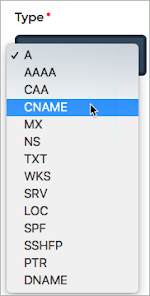 From the Type lists, CNAME is selected.
