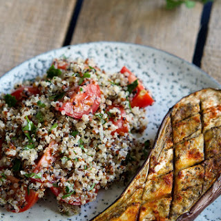 Baked Eggplant with Warm Quinoa Tabbouleh.