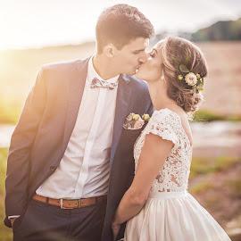 Kiss by Tomáš Paule - Wedding Bride & Groom ( kiss, wedding, bride, lens flare )