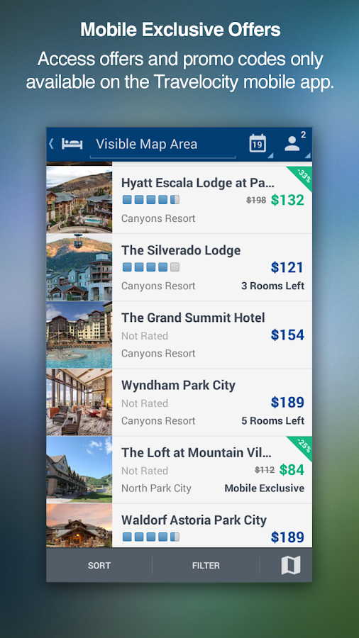 Travelocity Hotels Flights Screenshot