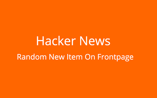 Random New Items in Hacker News Frontpage