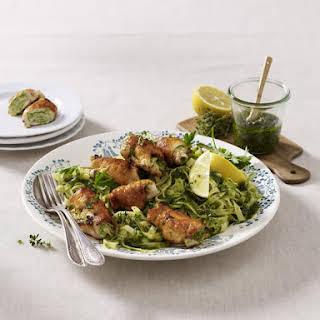 Lemon Thyme Pasta with Chicken Rolls.