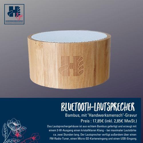 Bluetooth Lautsprecher Bambus-Optik mit Gravur Handwerksmensch