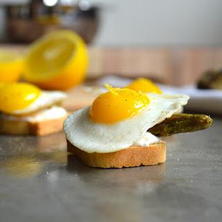 Asparagus and Quail Egg Canapés