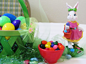 Photo: Here's a peek at my Easter tabletop -- come to my blog at http://www.homecookingmemories.com to see the full display and my fun Easter dinner activity idea!