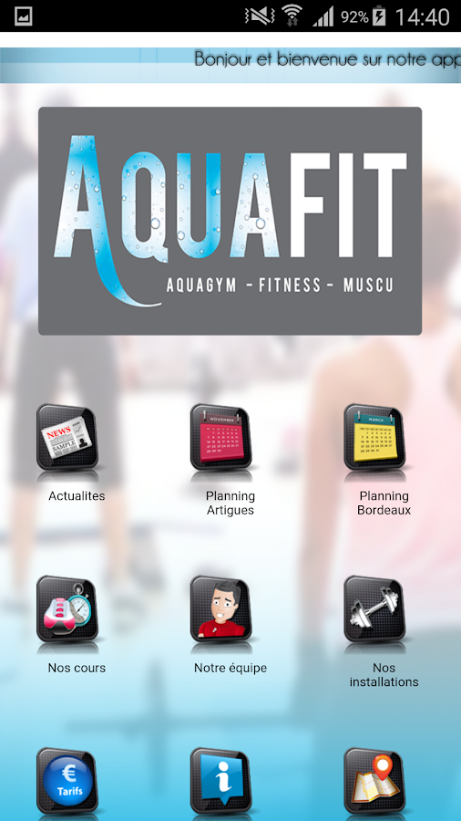 Aquafit – Capture d'écran