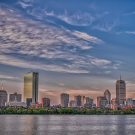 Boston from the Longfellow Bridge by Paul Gibson - City,  Street & Park  Skylines ( clouds, skyline, hdr, boston, bridge )