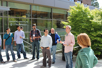 Photo: Alex from Enervee provides some judges' comments after the hackathon.