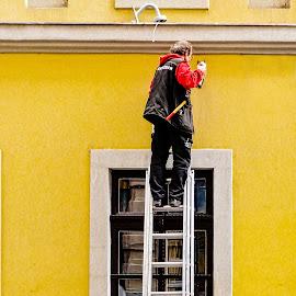 Repairs by Richard Michael Lingo - People Street & Candids ( street, candids, man, people, drill )
