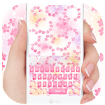 Pink romantic cherry keyboard theme