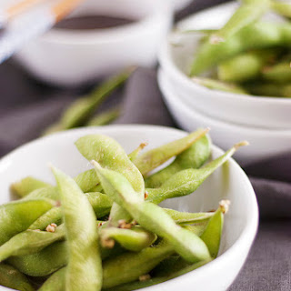 Steamed Edamame with Hoisin Dipping Sauce.