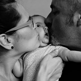 Muah by Toni Haas - People Family ( blackandwhite, family, baby, photo, squished,  )