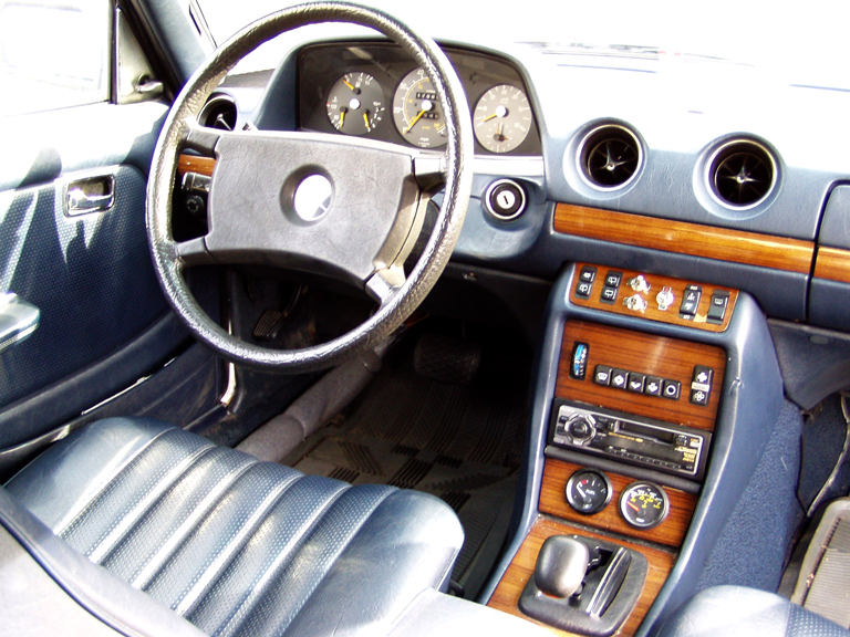 Photo: Inside 300TD Mercedes converted to run on Waste Oil with custom gauges and switches seamlessly integrated into the control panel.