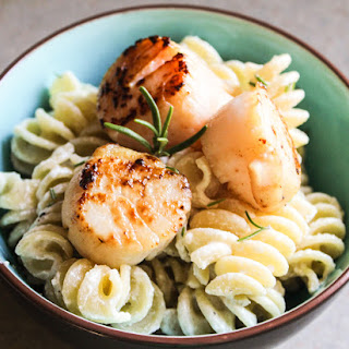 Pasta in a Goat Cheese Sauce with Pan-Seared Scallops.