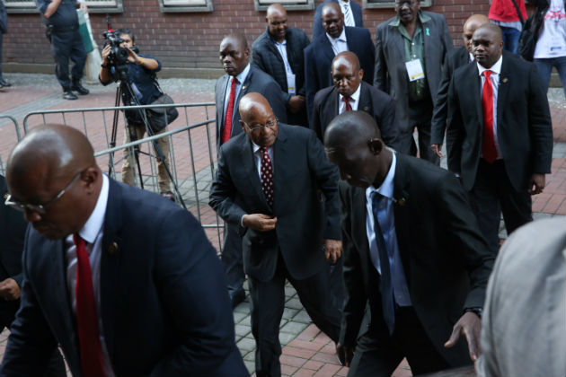 Jacob Zuma arrives at the Durban High Court