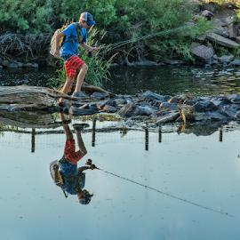 Boy On A Mission by Gwen Paton - Babies & Children Children Candids ( south platte river, fishing, river, boy, water )