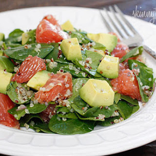 Spinach and Quinoa Salad with Grapefruit and Avocado.