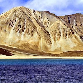 Pang Gong Tso 1 by Soumen  Basu Mallick - Landscapes Mountains & Hills ( mountain, blue, stone, lake, heights, yellow, landscape, bare )