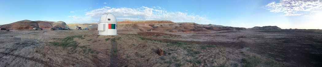 Photo: A panoramic view of the Musk Observatory, with the Terrain Traversing Task in the background.