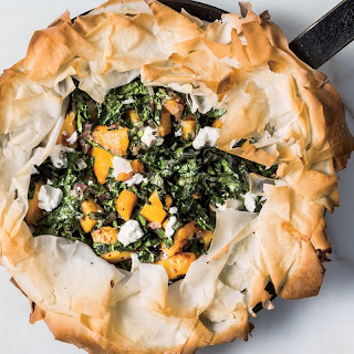 Skillet Phyllo Pie with Butternut Squash, Kale, and Goat Cheese Recipe | Epicurious.Com Recipe