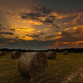 by Eriks Zilbalodis - Landscapes Sunsets & Sunrises ( field, clouds, nature, bale, sunset, cornfield, summer, sunrise, landscapes, corn )