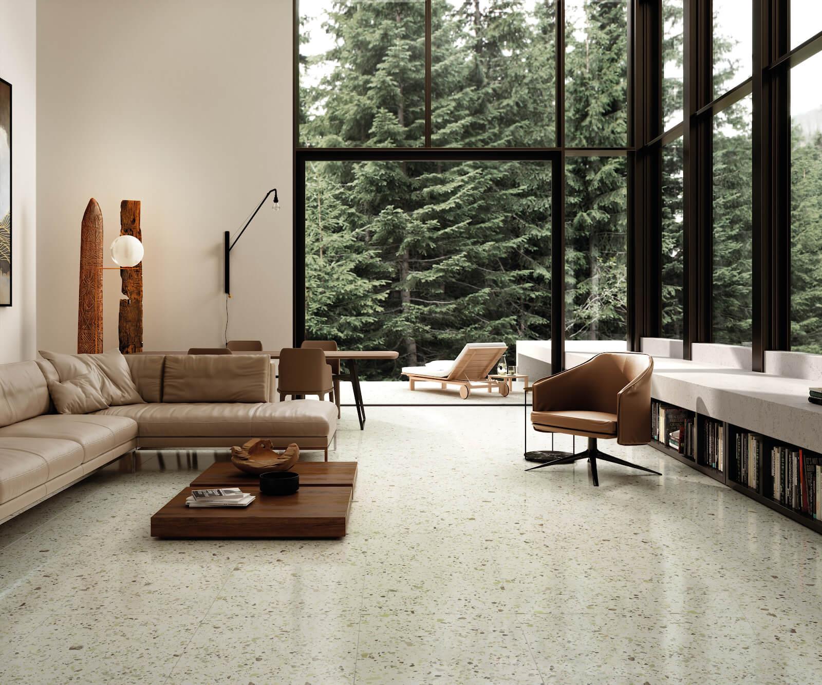 Indoor-outdoor living room with terrazzo-look tile