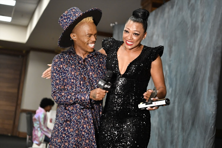 Lorcia Cooper wins Best Supporting Actress award - with her is Somizi during the 13th annual South African Film and Television Awards (SAFTAs)