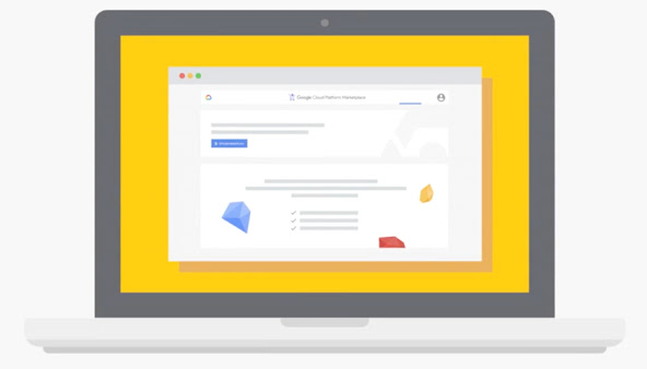 An illustration of a laptop with Google Cloud Marketplace on the screen