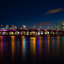 Downtown Miami by Aaron Whitaker - Uncategorized All Uncategorized ( skyline, florida, colors, miami, night )