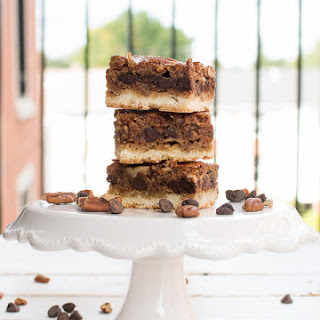 Chocolate Pecan Pie Bars with Shortbread Crust