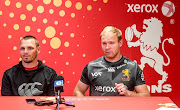 Ivan Van Rooyen (coach) of the Lions and Ross Cronje (captain) of the Lions during the Xerox Golden Lions XV team announcement at Media Centre, Emirates Airline Park on August 29, 2019 in Johannesburg, South Africa.