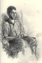 "Photo: Figure, 21cm x 29cm, 8"" x 11.5"", 2012, Moleskine folio Sketchbook, graphite."