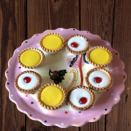 Delicious tartlets by Annalie Coetzer - Food & Drink Candy & Dessert ( cherry, festive, bakewell, tart, sweet, joy, plate, cherries, lemon )