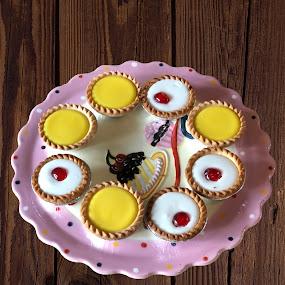Delicious tartlets by Annalie Coetzer - Food & Drink Candy & Dessert ( cherry, festive, bakewell, tart, sweet, joy, plate, cherries, lemon )