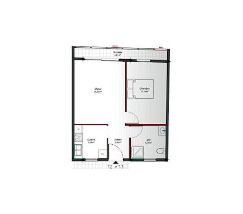 Location appartement 2 pièces 43,82 m2