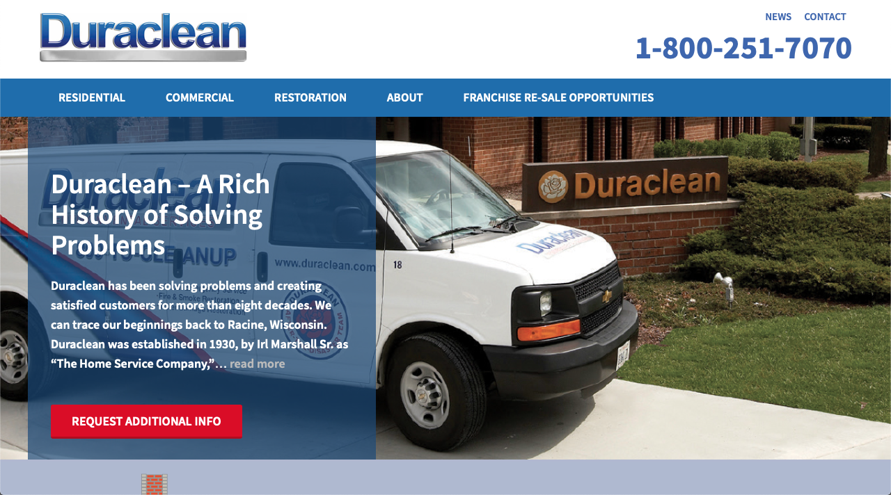 Duraclean restoration franchise website homepage