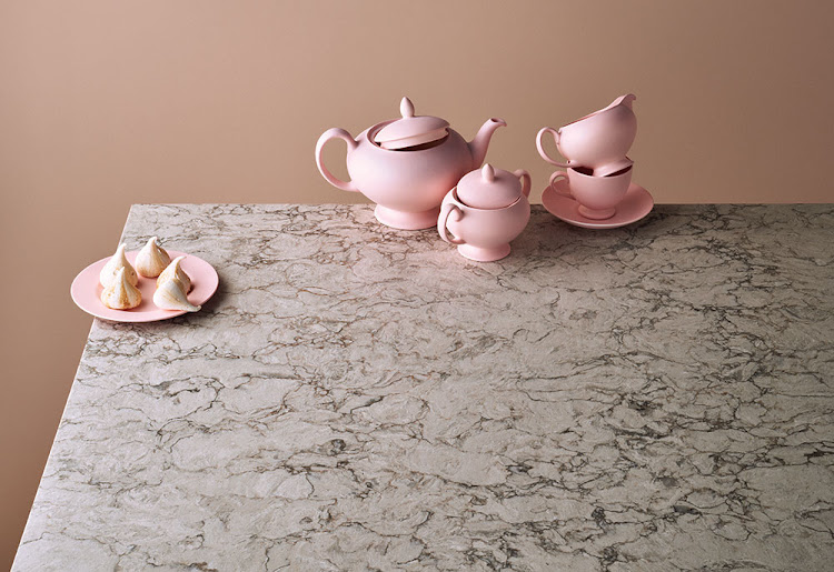 Caesarstone with pink teapots