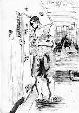 Photo: 跑消息2012.09.21鋼筆 收容人總是會想傳遞消息,我們管理人員立場則是得要想辦法防制,這位老兄趁著打飯的機會在房門邊低語,馬上被我出言制止…