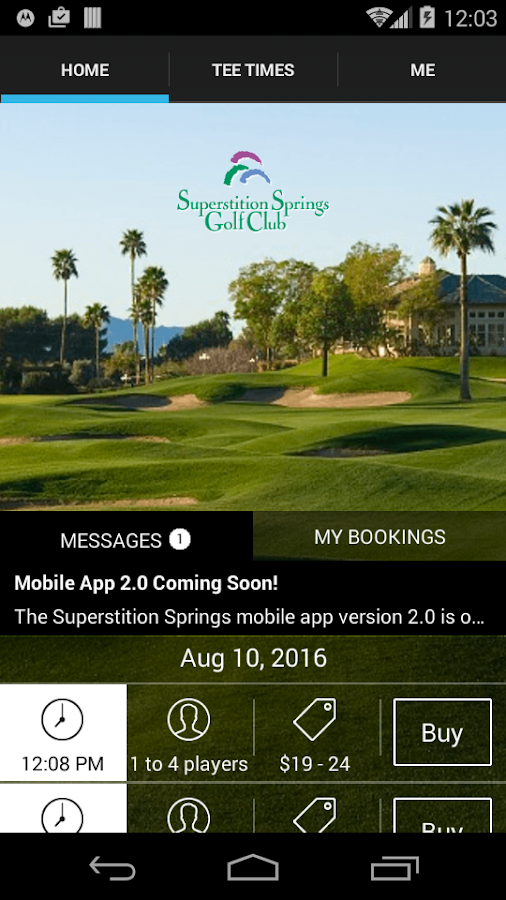 Superstition Springs Tee Times- screenshot