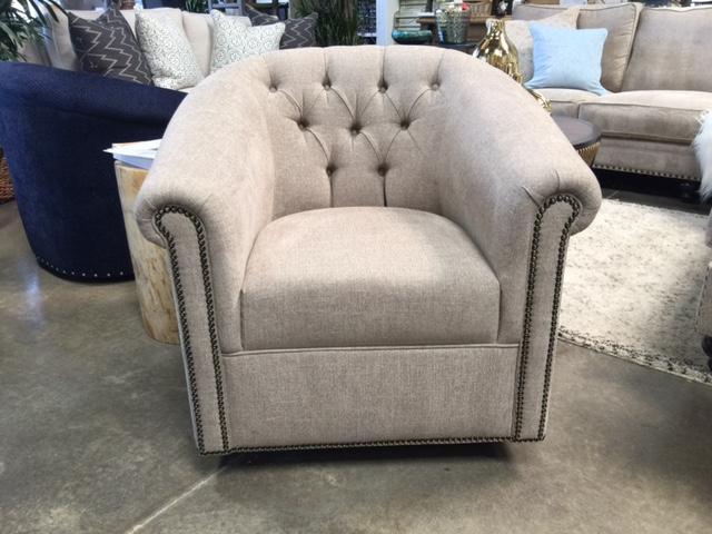 Tufted Swivel Barrel Chair